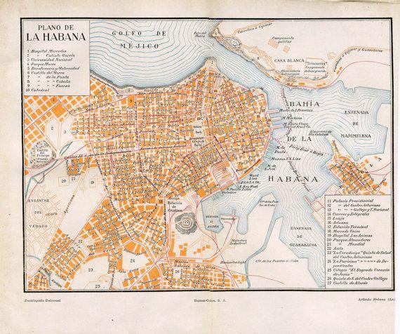 HAVANA Vintage town plan Railways /& streetcar lines Cuba Caribbean 1927 map