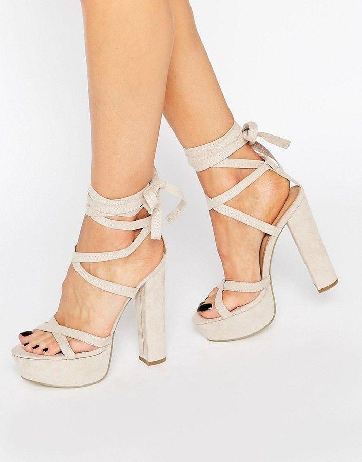 73ce22fec Truffle Collection Truffle Tie Up Block Heel Sandal | Heels ...