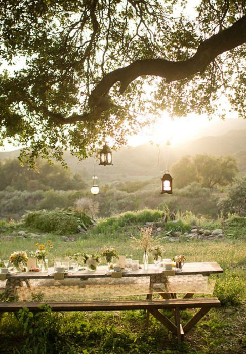 perrrfect. tree lanterns. see through table cloth. wooden picnic table.