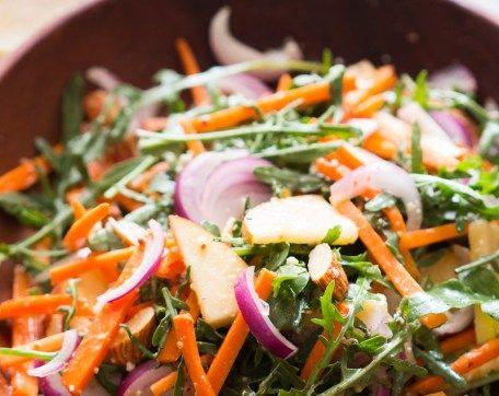 Apple Arugula Almond Salad with Orange Dressing