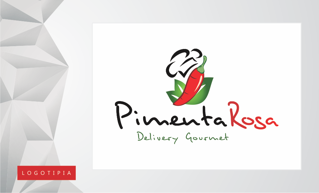 Logomarca desenvolvida para o Pimenta Rosa, delivery de refeições