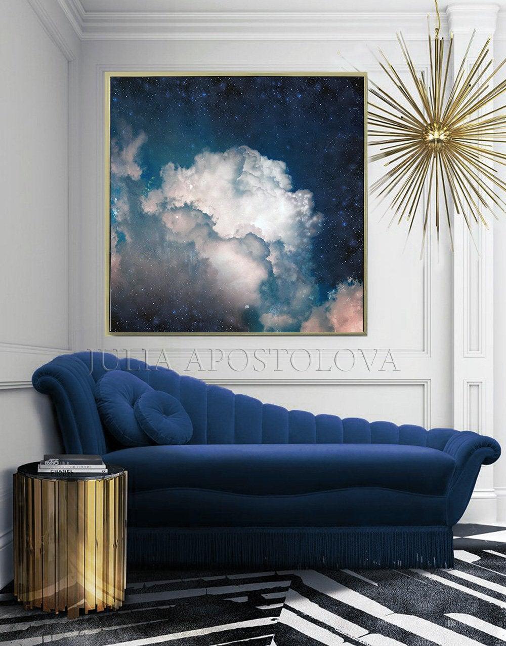 Navy Blue Cloud Painting Galaxy Watercolor Dark Blue Wall Art
