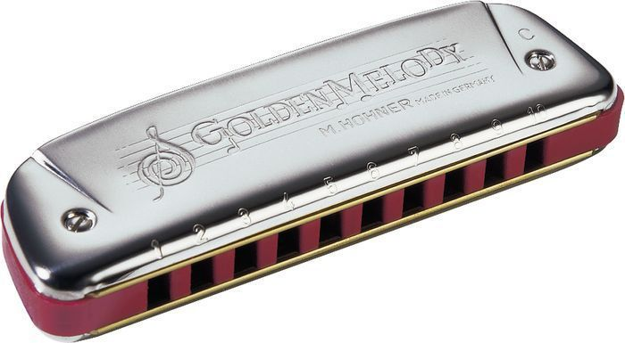 Hohner Harmonica GOLDEN MELODY Key Eb + Free Mini Harp + Instructional Book! #HOHNER