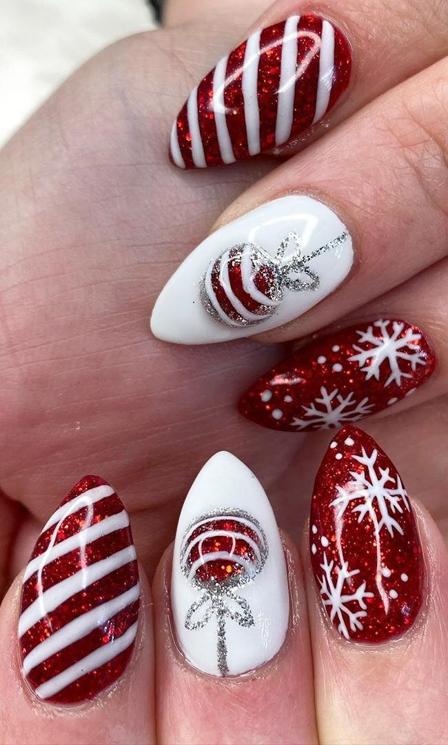 45+ Christmas Nails Design for This Winter 2019 2020 Part 27 #christmasnailsacrylic