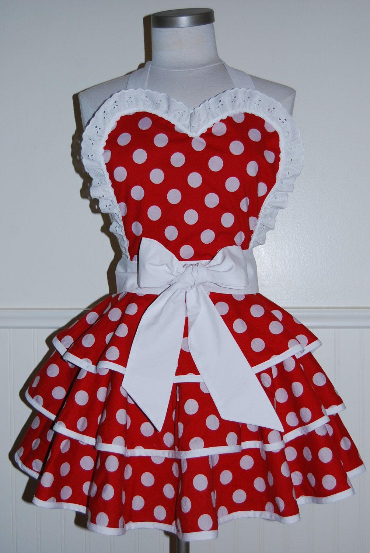 White apron etsy - Red And White Polka Dot 3 Tier Circle Skirt Valentine Pinup Hostess Apron 45 00