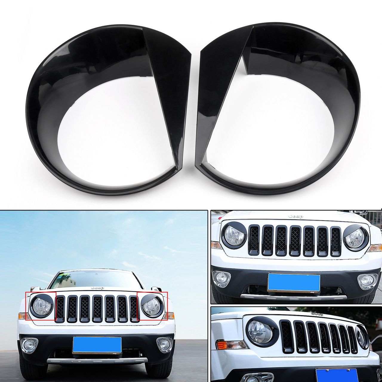 Mad Hornets Angry Bird Headlight Bezels Cover Trim Jeep Renegade