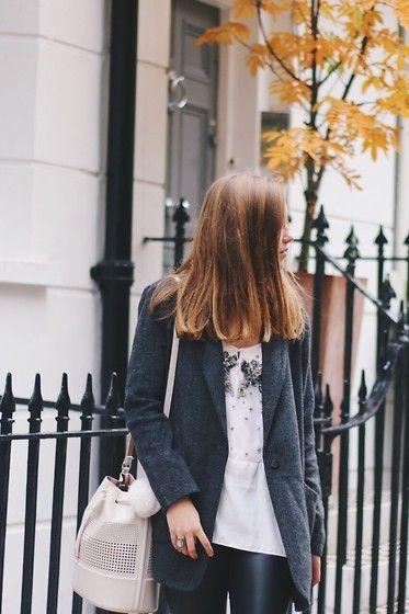Get this look: http://lb.nu/look/7862348  More looks by Emma Felin: http://lb.nu/emmakatefelin  Items in this look:  Zara Top, Lookbook Store Coat, H&M Trousers, Zara Bag   #chic #preppy #street #minimal #london