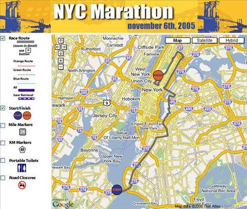 New York City Marathon Google Map Mash Up City Marathon New York Marathon New York City
