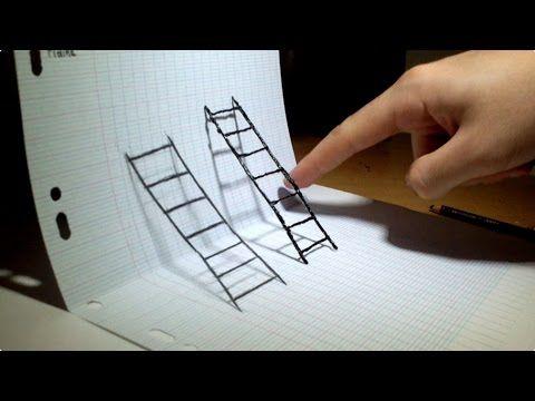 Optical Illusion 4d Art Youtube Draw Pinterest Dessin