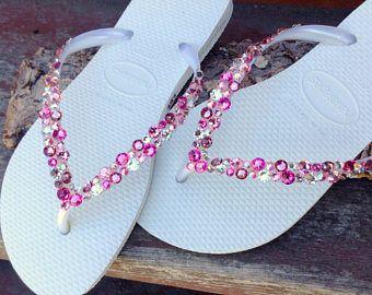 Custom Havaianas Slim Flip Flops Wedding Confetti w/ Swarovski Crystal  Rhinestone Bling sandals Beach Bridal Shoes Rose Pink Heart Thongs