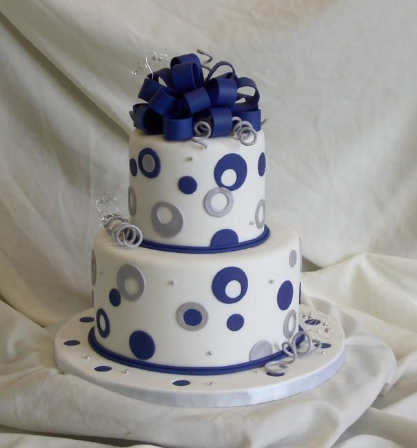 blue and silver dots all fondant Bridal Shower Cake Pinterest