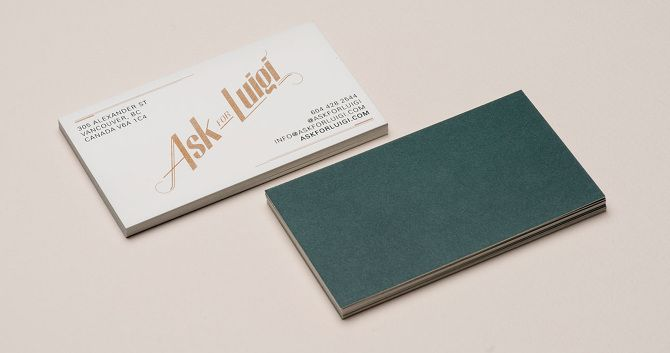 Ask For Luigi Glasfurd Walker Branding Graphic Packaging Design Unique Business Cards Design Business Card Design Personal Business Cards Design