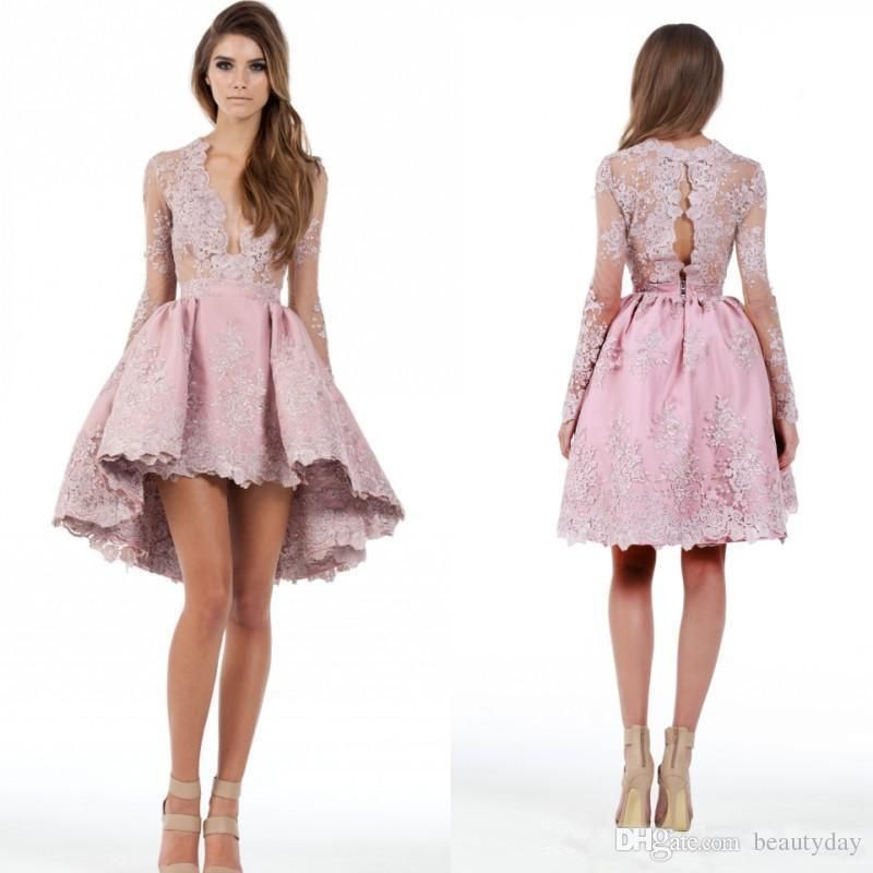 6a7b6d55ad0 Blush Prom Dresses A Line Long Sleeves Hi-Lo Cocktail Party Dresses Lace  Applique Plunging Homecoming Gowns Deep V Neck Short Mini Dress