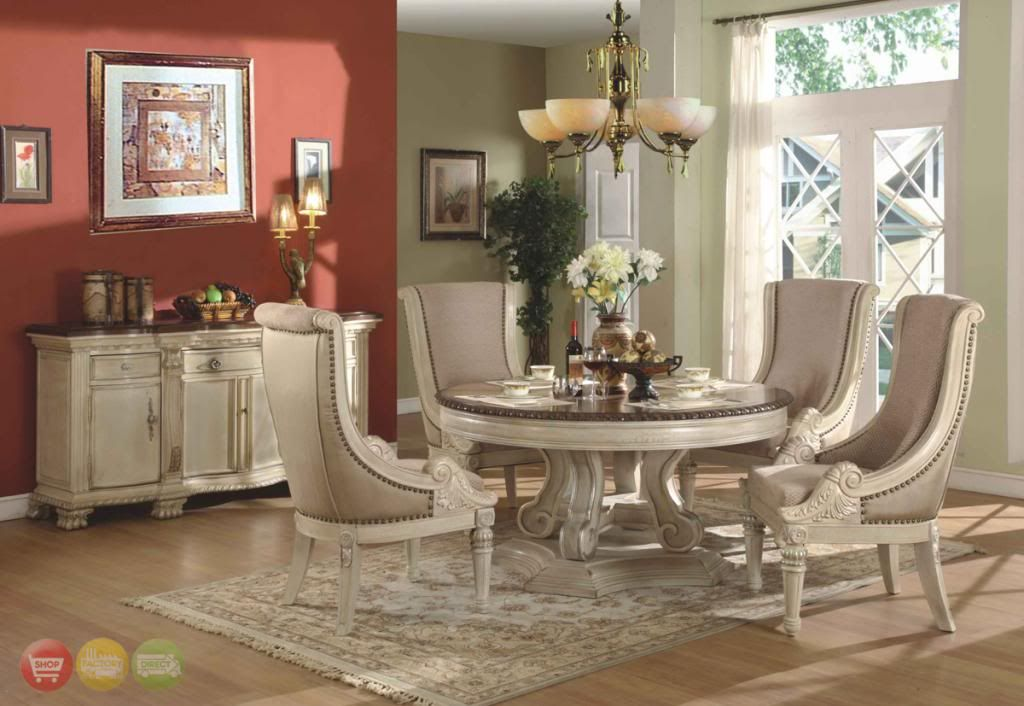6 Pc Round Formal Dining Room Set Upholstered Chairs Antique White W Sideboard Formal Dining Room Sets Round Dining Table Sets Round Dining Room