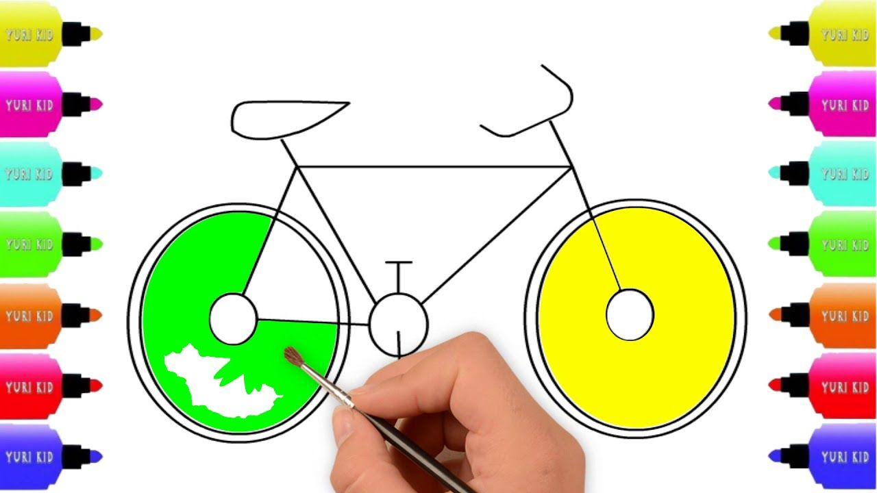 How to Draw Bicycle Easy Step By Step for kids, Coloring ...