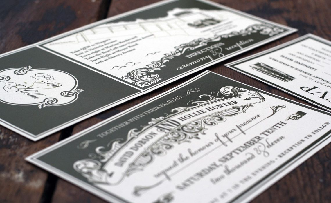 Custom Black And White Ticket Style Wedding Invitations By OOXX