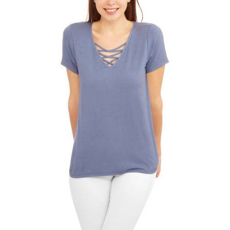French Laundry Women's Short Sleeve Relaxed Fit T-Shirt with Caging, Blue