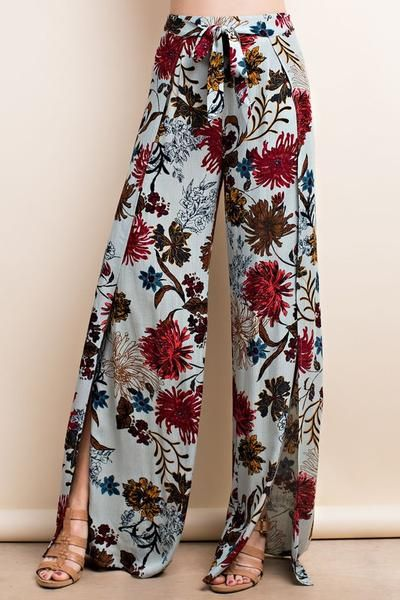 7acaf807ae92 Floral Tied Wrap Palazzo Pants - Self Tie - Wrap Tie - Floral Print - Side  Slits - Flare - Model (5 9) Fabric 100% Rayon Made in Imported