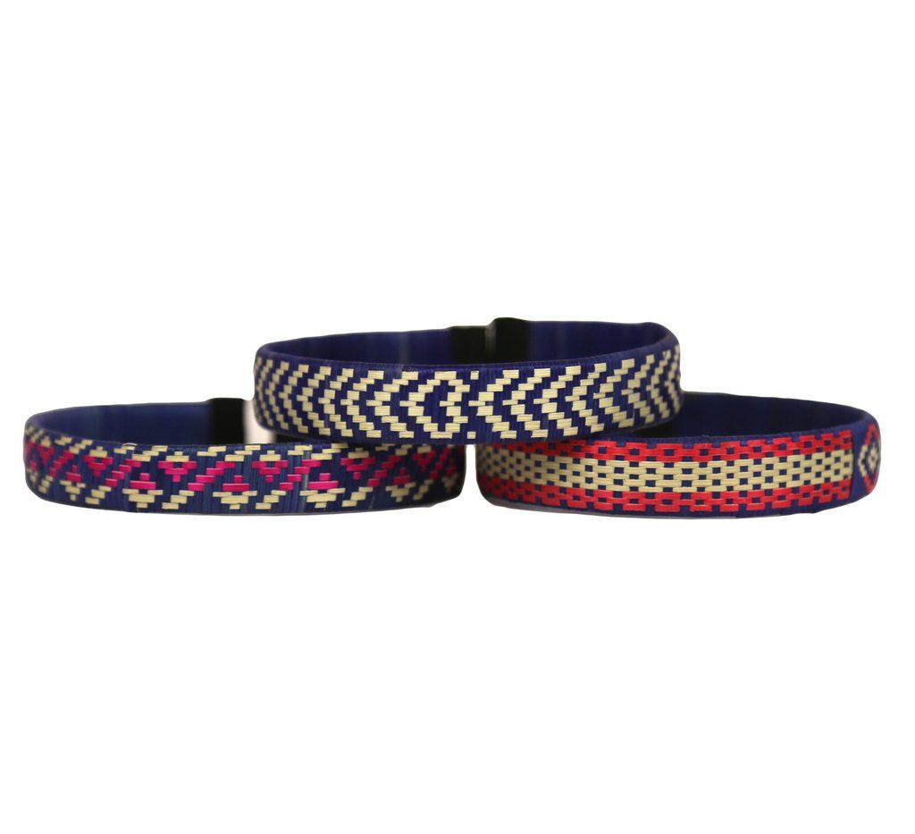 Third Time is the Charm - Cana Flecha Cuff Bracelets - Set of 3 - Blue Tones - Colombia