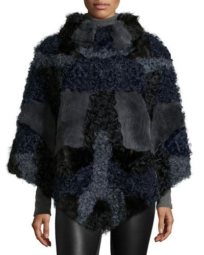 D11J7 GP Luxe Fur Patchwork Poncho, Black/Blue | Scarves