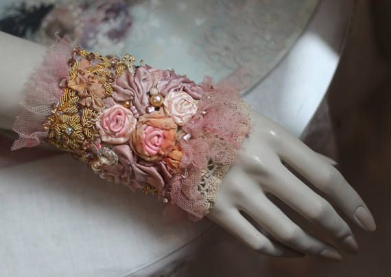 Porcelain roses cuff, bold cuff with antique laces, bohemian wrist wrap,beading and crystals