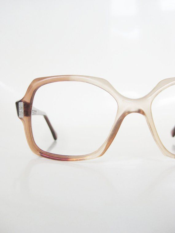 24223dac87 Vintage 1970s Boxy Eyeglasses Apricot Pink Peach Seventies Oversized Indie  Hipster Chic 70s Seventie