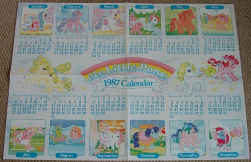 My Little Pony Vintage 1987 Calendar Poster Pin Badge 1986 Club