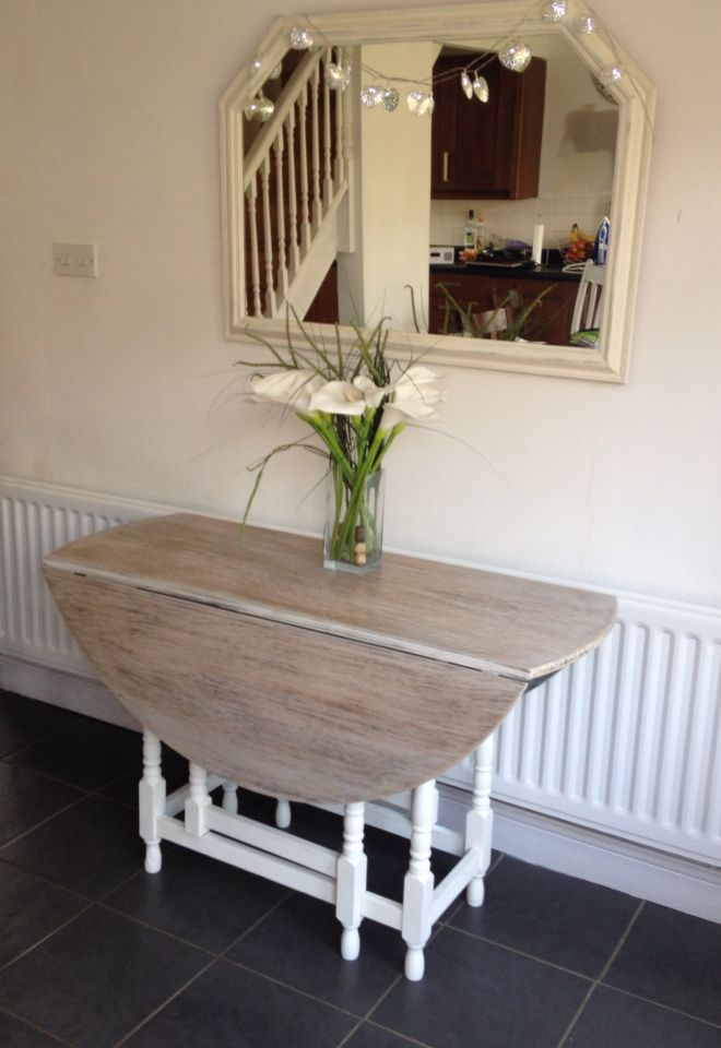 Gate Leg Table With Colour Wash Top And Cream Chalk Paint Legs Www Debrajwyatt Co Uk Dining
