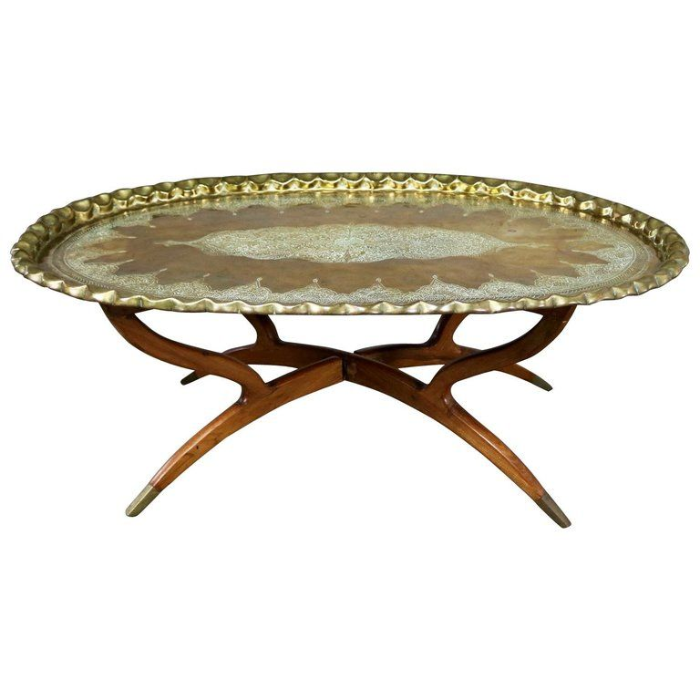 Vintage Indian Moroccan Style Oval Tray Top Spider 4 Leg Coffee
