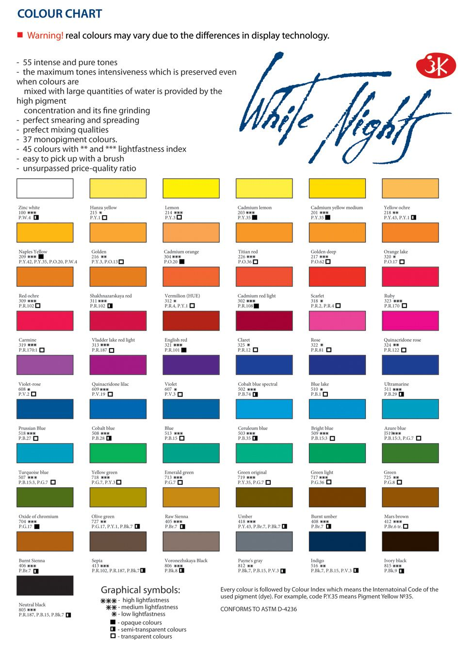 Doodlewash Review White Nights Watercolours Paint Color Chart