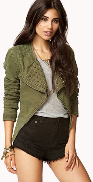 Military-Inspired Clothing for Women | Forever 21 Military inspired Spiked Denim Jacket in Green (OLIVE/ANTIC ...