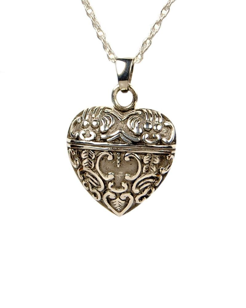 Cremation antique style heart urn necklace jewelry for Jewelry to hold cremation ashes