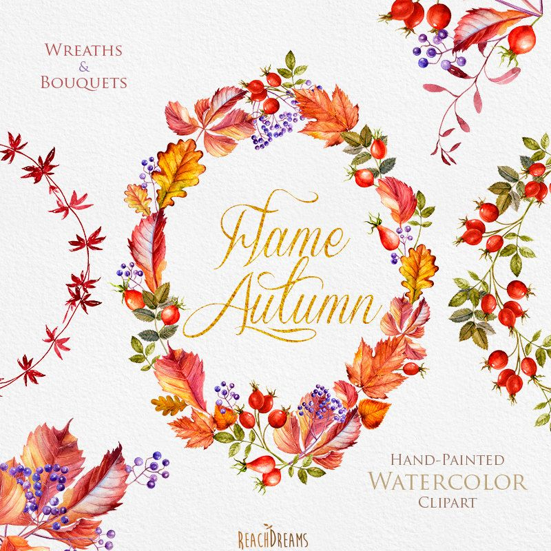 Watercolor Wreaths, Bouquets, Autumn clipart, fall leaves, foliage ...