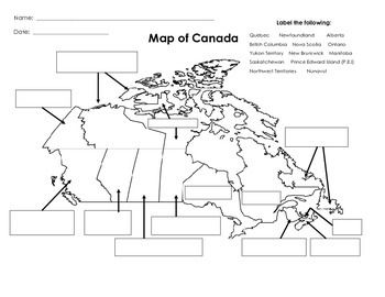 label and color the political map of canada