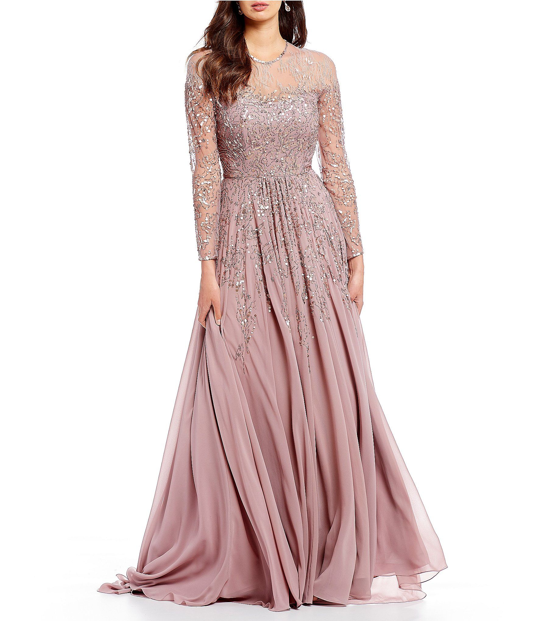 Terani Couture Sheer Lace Sleeve Sequin Embellished Chiffon Ball ...