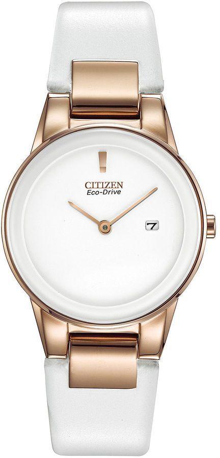 Citizen Eco Drive Axiom Womens Rose Tone White Leather Strap Watch Ga1053 01a Womens Big Face Watches Com Imagens Relogio Feminino Relogios Fashion Acessorios Femininos