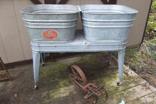 Wheeling Galvanized Double Wash Tub Beer Cooler Flower Pot Plant Stand Bucket Wash Tubs Beer Cooler Amazing Flowers