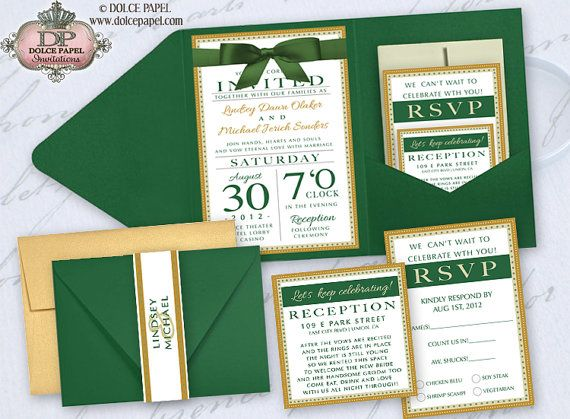 Elegant Wedding Invites Coupon: 25 Emerald Green Ivory And Gold Metallic By