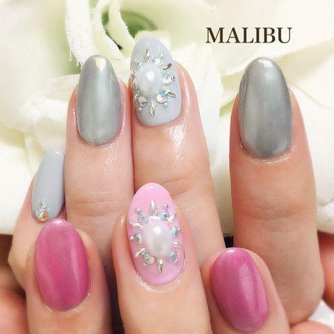 グレーとピンクのミラーネイル♪ の画像|恵比寿プライベートネイルサロンMALIBU