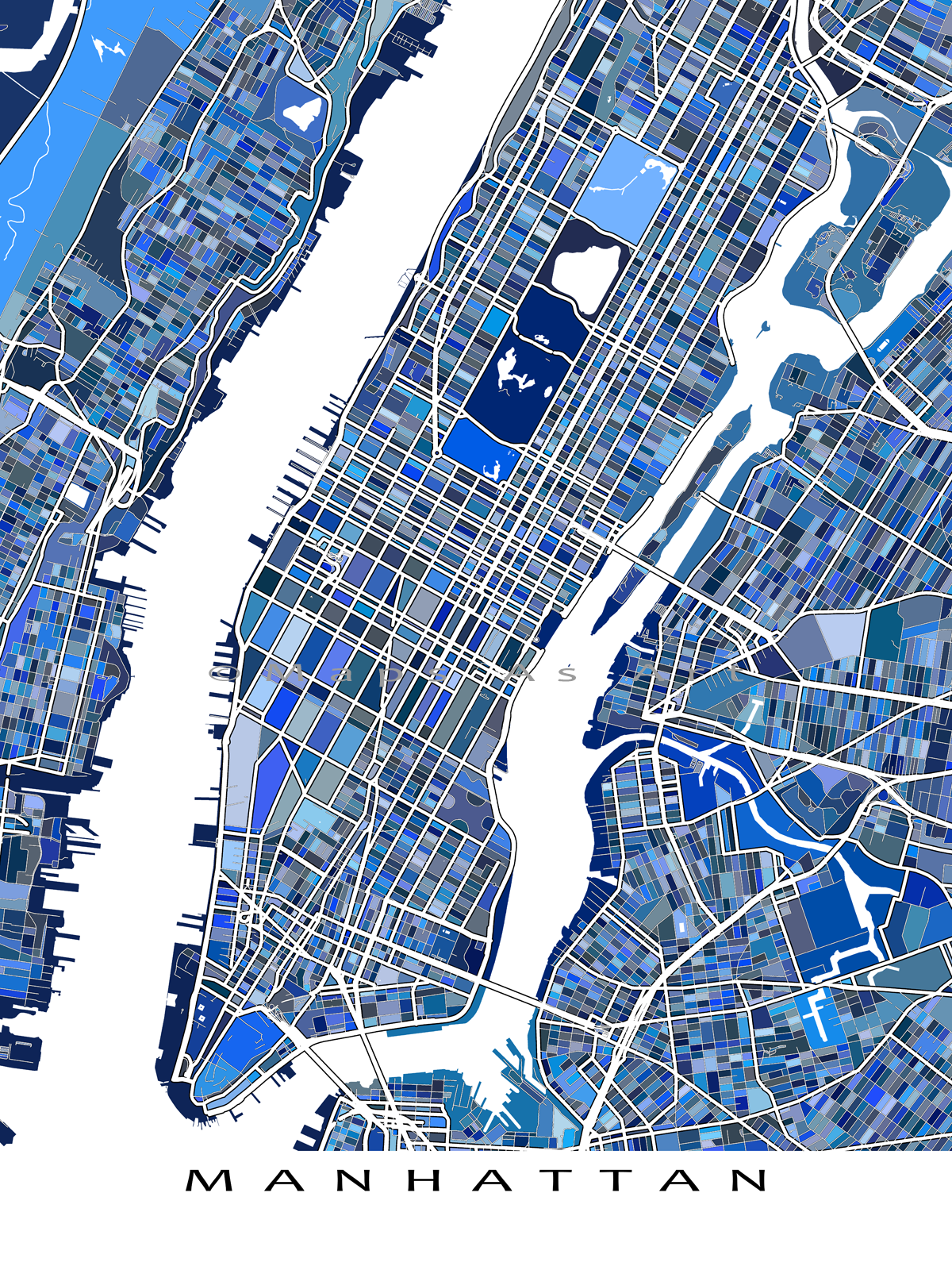 Manhattan Map Print, NYC Map, New York Cityscape Map, Central Park ...