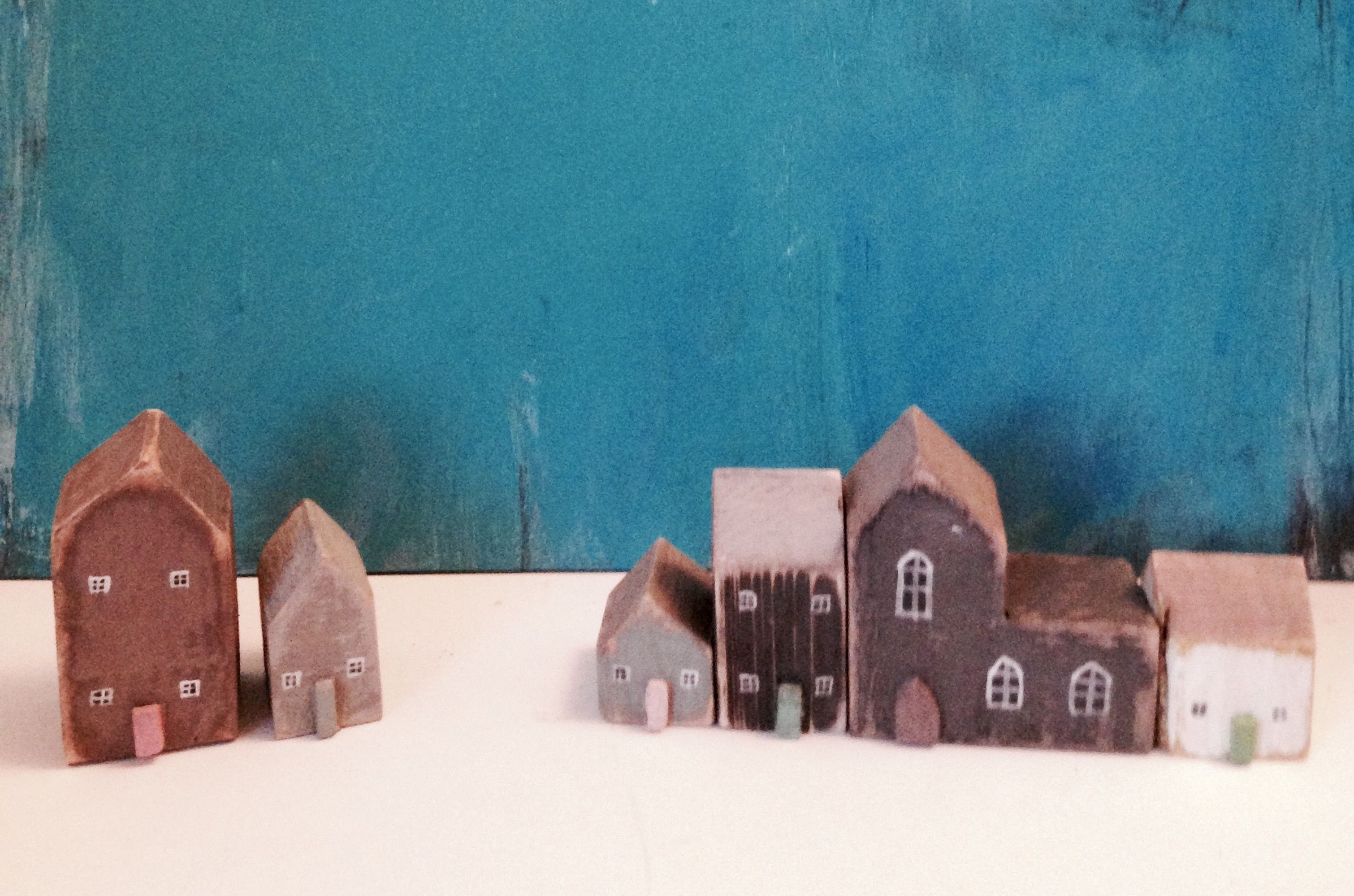 Little reclaimed wooden houses and churches £5-£7.00 each