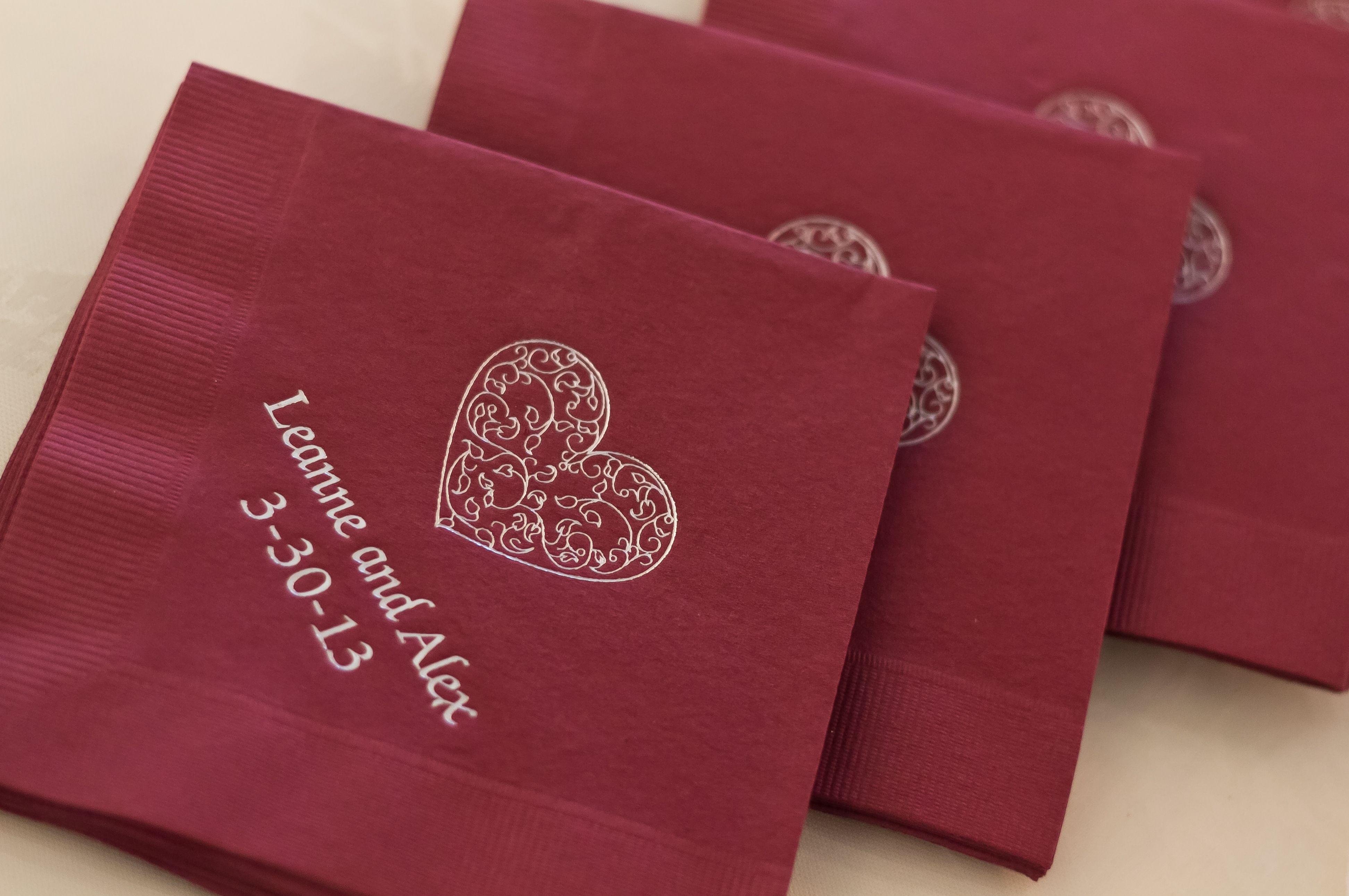 Deep red personalized napkins | My Wedding 3/30/13 | Pinterest | Wedding