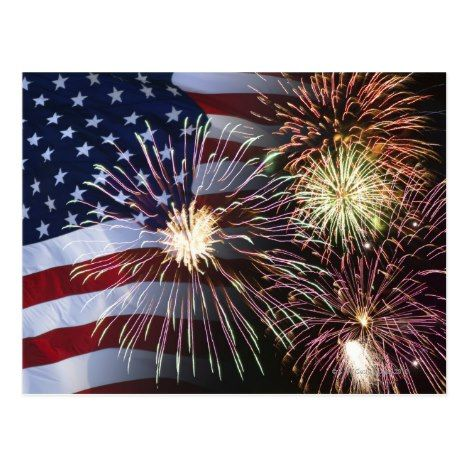 Fireworks And American Flag Postcard Zazzle Com 4th Of July Images July Images 4th Of July Fireworks