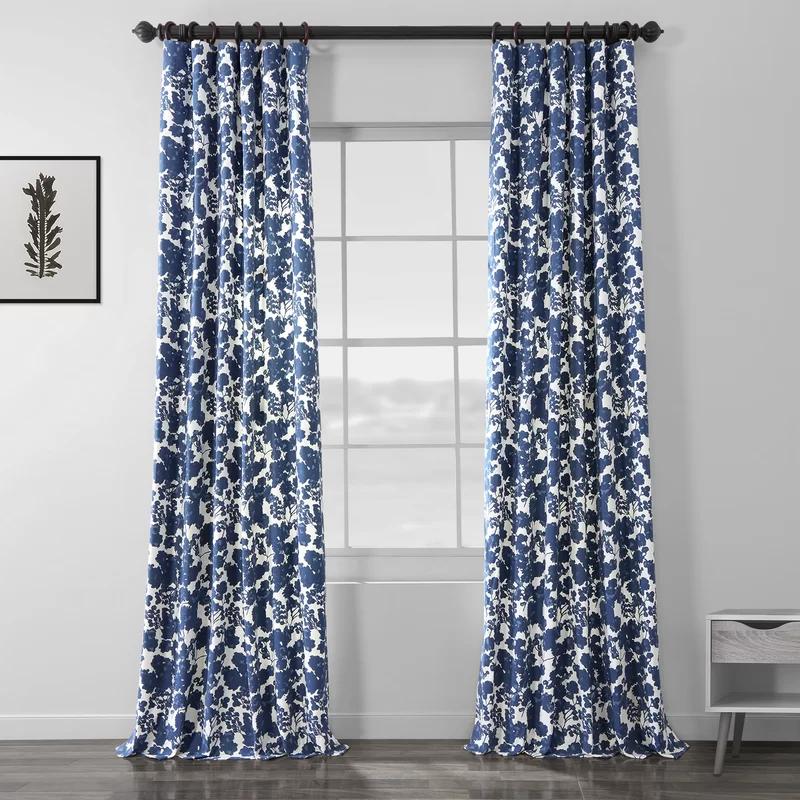 One Allium Way Hemsworth 100 Cotton Floral Room Darkening Rod Pocket Single Curtain Panel Reviews Wayfair In 2020 Floral Room Panel Curtains Printed Cotton Curtain