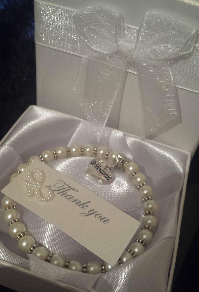 Wedding Pealr Charm Bridesmaid Flower Gift Boxed Thank You Present