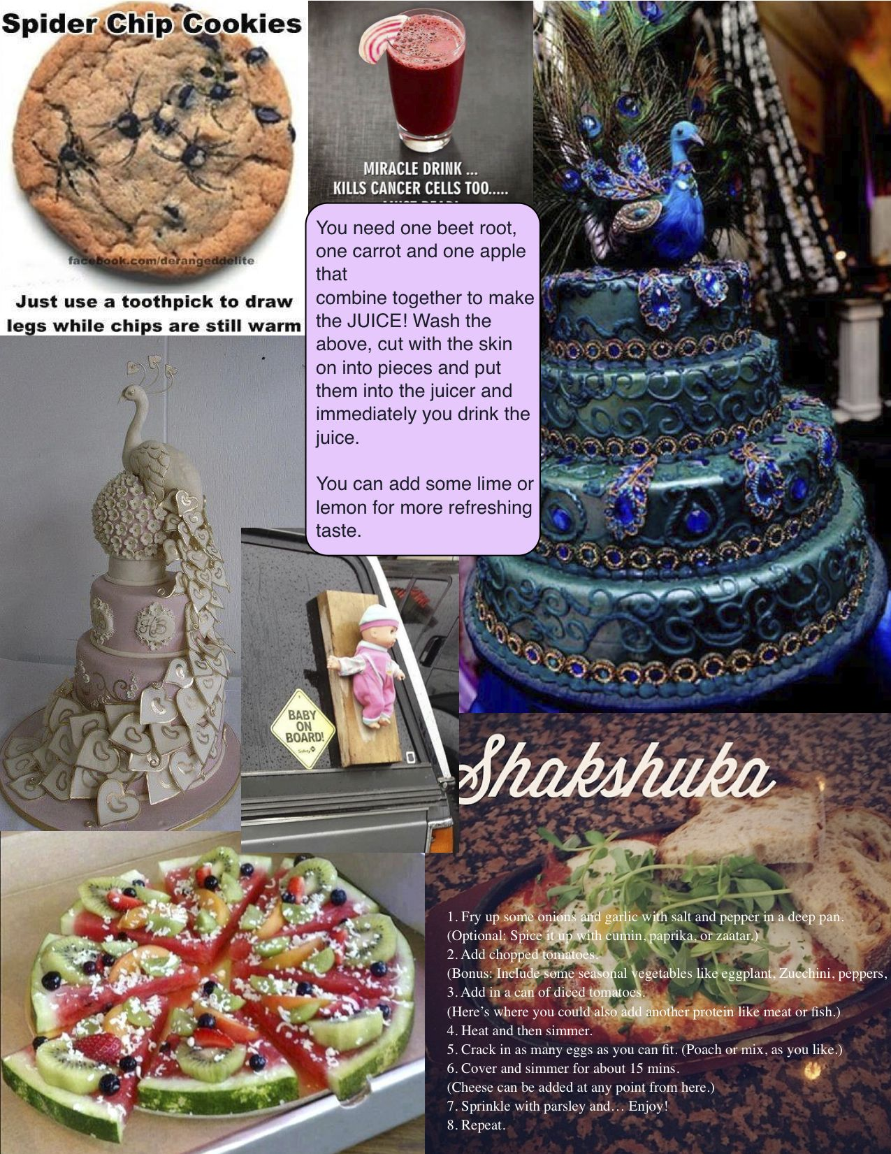 Cakes, spider cookies and more food