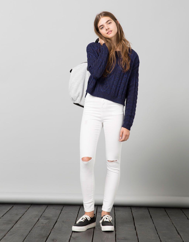 Jersey cropped bsk com tran as sweaters bershka portugal fashion hips moda roupas - Comprar ropa en portugal ...