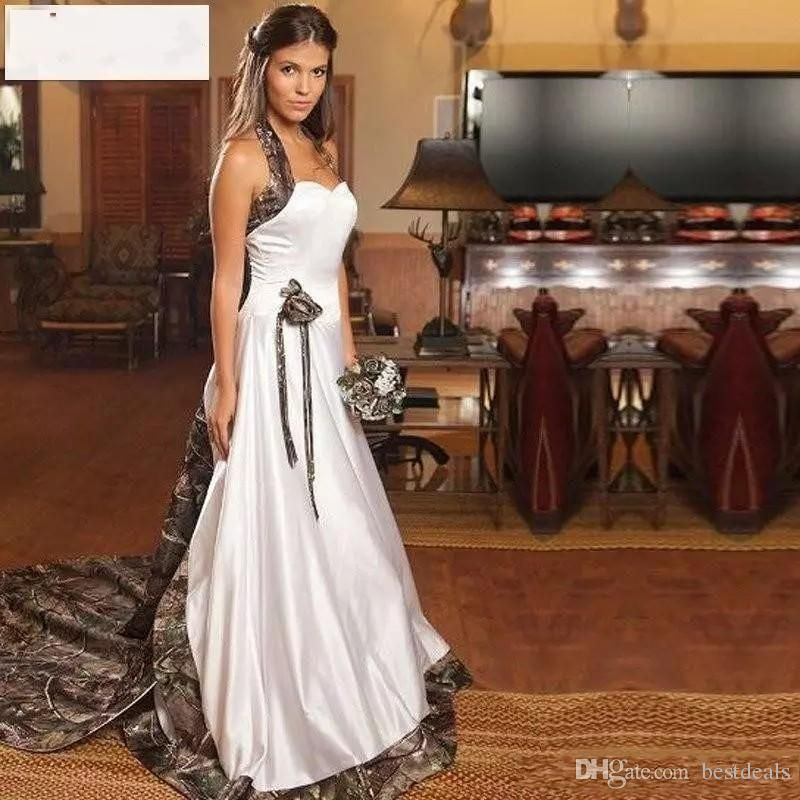 Vintage Country Realtree Camo White Wedding Dresses 2017 Halter Sweep Train Backless A Camouflage Wedding Dresses Camo Wedding Dresses White Camo Wedding Dress,Black And White Wedding Guest Dress