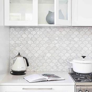 Carrera Marble Fan Shaped Kitchen Backsplash Tiles