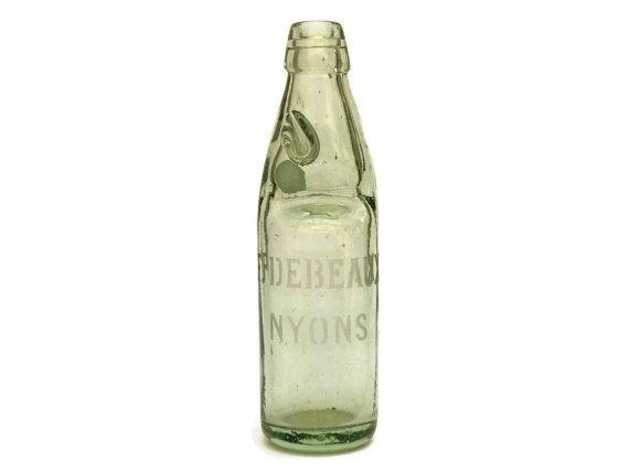 Antique French Codd Neck Bottle With Glass By Lebonheurdujour Vintage Soda Bottles French Antiques Green Glass Bottles
